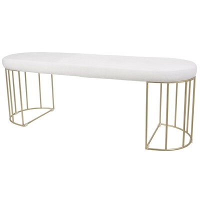 Lystra Metal Bench Upholstery Color: White