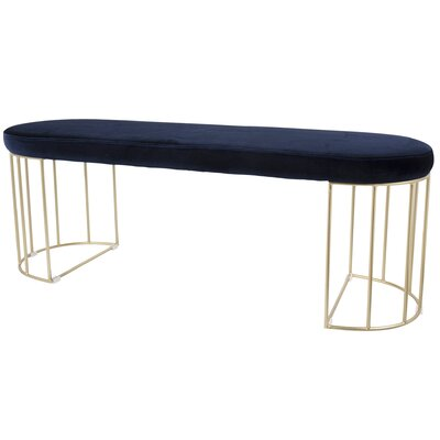 Lystra Metal Bench Upholstery Color: Blue