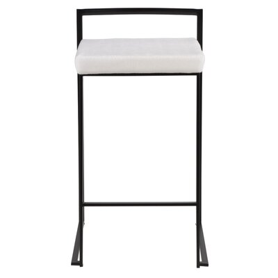"Gary 27"" Bar Stool Color: Black, Upholstery: White Velvet"