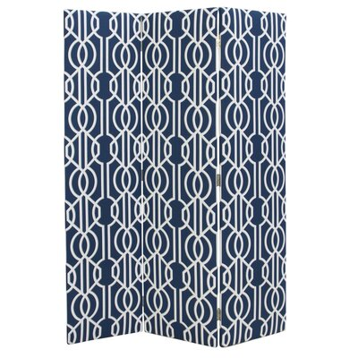 Wharton 3 Panel Room Divider Color: Navy