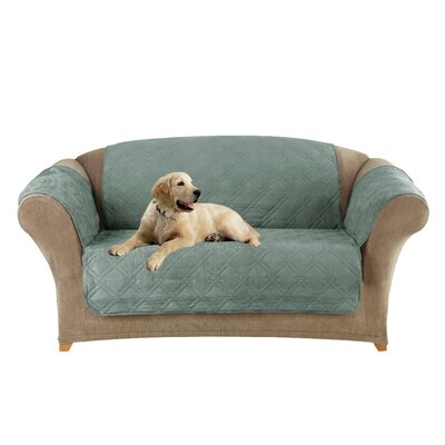 Box Cushion Loveseat Slipcover Upholstery: Sea Glass