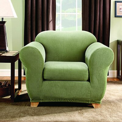 Stretch Stripe Box Cushion Armchair Slipcover Upholstery: Sage