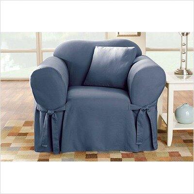 Sure Fit Cotton Duck Box Cushion Arm Chair Slipcover ...