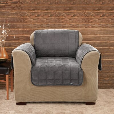 Deluxe Comfort Box Cushion Armchair Slipcover Upholstery: Dark Grey