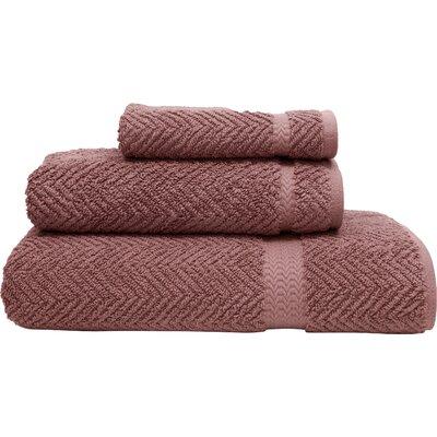 Huguetta Weave 3 Piece Turkish Cotton Towel Set Color: Sugar Plum