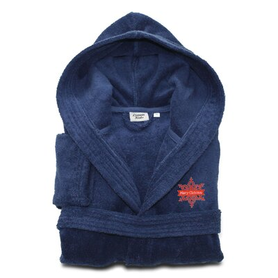 Ashtown Embroidered 100% Turkish Cotton Kids Hooded Terry Bathrobe Color: Midnight Blue, Size: Small
