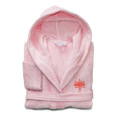 Ashtown Embroidered 100% Turkish Cotton Kids Hooded Terry Bathrobe Color: Pretty Pink, Size: Small