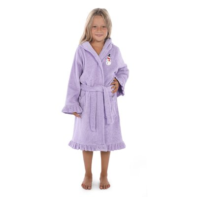 "Astin Snowman Design Kids 100% Cotton Hooded Terry Bathrobe Size: 29.5"" H x 12.5"" W, Color: Purple"