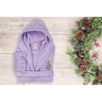 "Astoria Christmas Tree Design Kids 100% Cotton Hooded Terry Bathrobe Size: 29.5"" H x 12.5"" W, Color: Purple"
