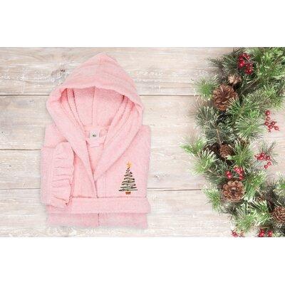 "Astoria Christmas Tree Design Kids 100% Cotton Hooded Terry Bathrobe Size: 29.5"" H x 12.5"" W, Color: Pretty Pink"