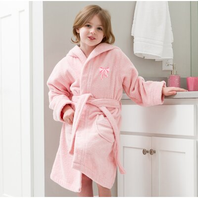 Ashby Hooded Bow Design Terry Bathrobe Color: Pink, Size: Small