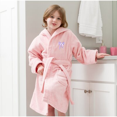 Ashby Hooded Bow Design Terry Bathrobe Color: Pink/Purple, Size: Small