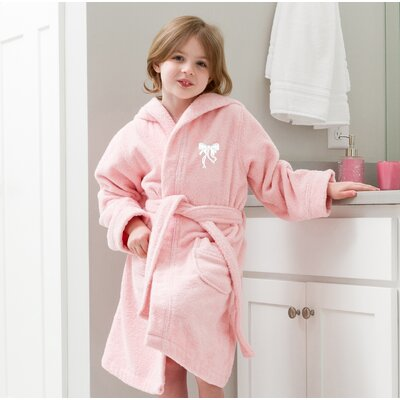 Ashby Hooded Bow Design Terry Bathrobe Color: Pink/White, Size: Small