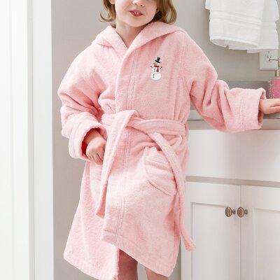 Anselm Kids Hooded Snowman Terry Bathrobe Size: Medium, Color: Pink
