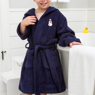 Anselm Kids Hooded Snowman Terry Bathrobe Size: Medium, Color: Blue