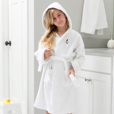 Anselm Kids Hooded Snowman Terry Bathrobe Size: Medium, Color: White