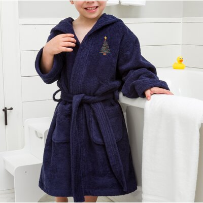 Anselm Kids Hooded Christmas Tree Terry Bathrobe Size: Large, Color: Blue