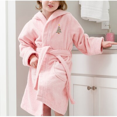 Anselm Kids Hooded Christmas Tree Terry Bathrobe Size: Large, Color: Pink
