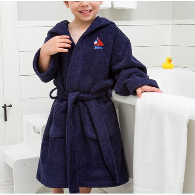 Arenzville Kids Hooded Boat Terry Bathrobe Color: Blue, Size: Small
