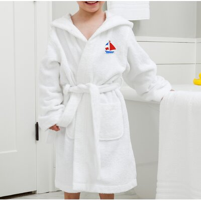 Arenzville Kids Hooded Boat Terry Bathrobe Size: Large, Color: White