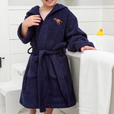 Argo Kids Hooded Dino Terry Bathrobe Size: Large, Color: Blue