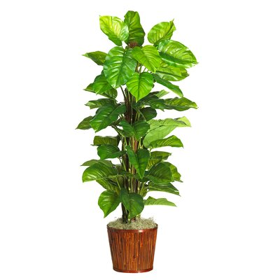Nearly Natural Silk Large Leaf Philodendron Floor Plant in Pot