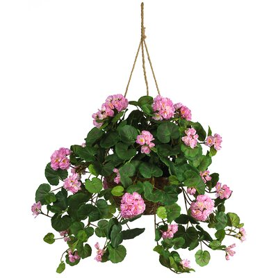 Nearly Natural Silk Geranium Hanging Plant in Basket