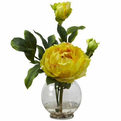Nearly Natural Peony with Fluted Vase Silk Flower in Yellow
