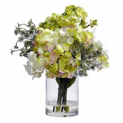 Nearly Natural Silk Hydrangeas with Vase