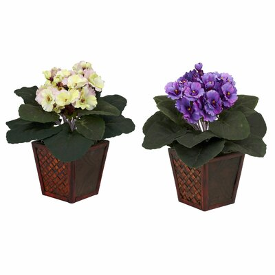 Nearly Natural African Violet Desk Top Plant in Pot