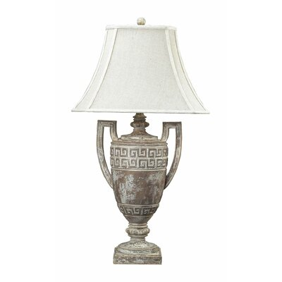 """Sterling Industries Greek Key Table 34"""" H Lamp with Bell Shade"""