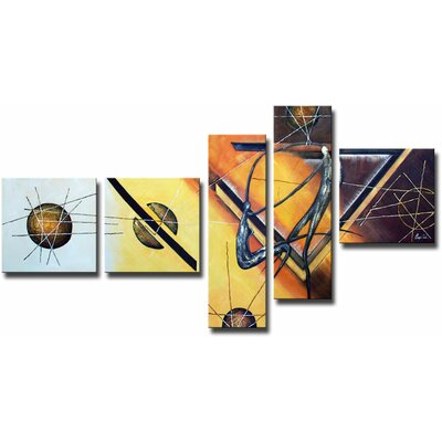 White Walls Swag Surfers 5 Piece Framed Painting Print Wrapped Canvas Set