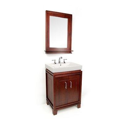 "Bartone 24"" Vitreous Ensemble Bathroom Vanity Set Base Finish: Cherry"