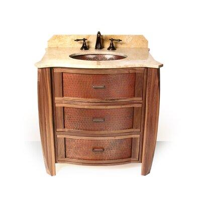 "Vanities 32"" Single Bombay Copper Front Cabinet Bathroom Vanity Set Sink Finish: Bolle Oval Copper Undermount Sink, Top Finish: Beige Travertine"