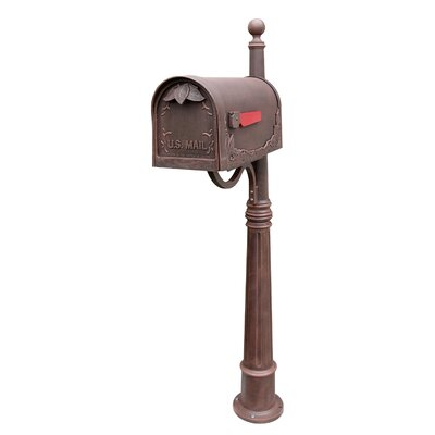 Floral Mailbox with Post Included Color: Copper