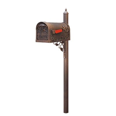 Hummingbird Curbside Mailbox with Post Included Color: Copper