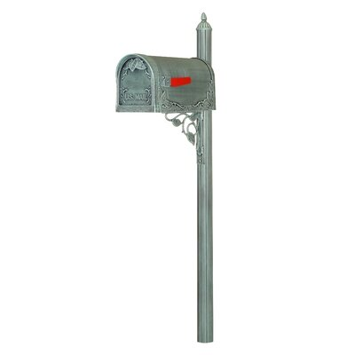 Floral Curbside Mailbox with Post Included Color: Verde Green