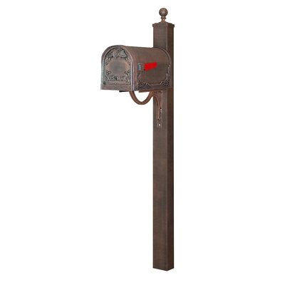Floral Curbside Mailbox with Post Included Color: Copper