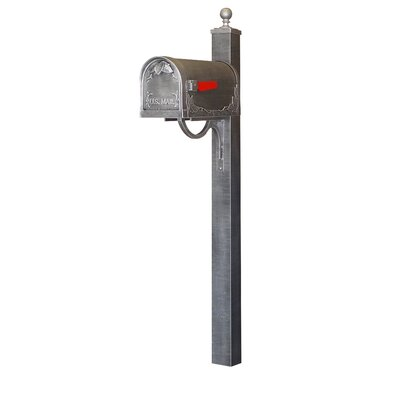 Floral Curbside Mailbox with Post Included Color: Swedish Silver
