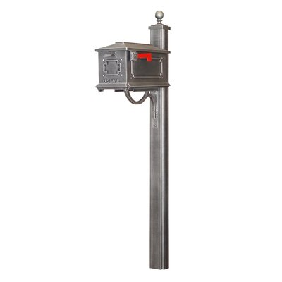 Kingston Curbside Mailbox with Post Included Color: Swedish Silver