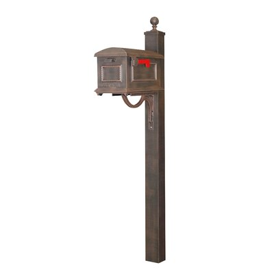 Traditional Curbside Mailbox with Post Included Color: Copper