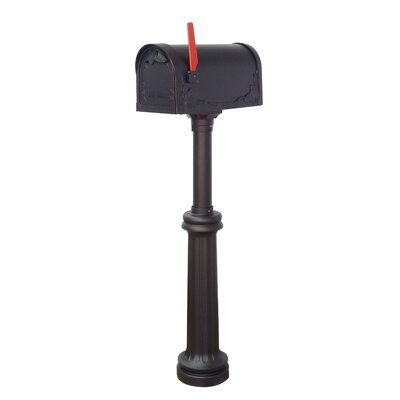 Floral Curbside Mailbox with Post Included Color: Black