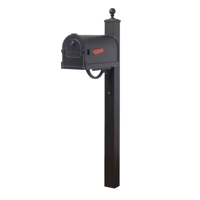 Savannah Curbside Mailbox with Post Included Color: Black
