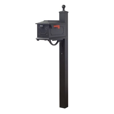 Kingston Curbside Mailbox with Post Included Color: Black