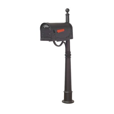 Floral Mailbox with Post Included Color: Black