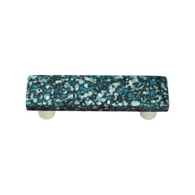 "Granite 3"" Center Bar Pull Post Finish: Aluminum, Color: Turquoise Blue & French Vanilla"