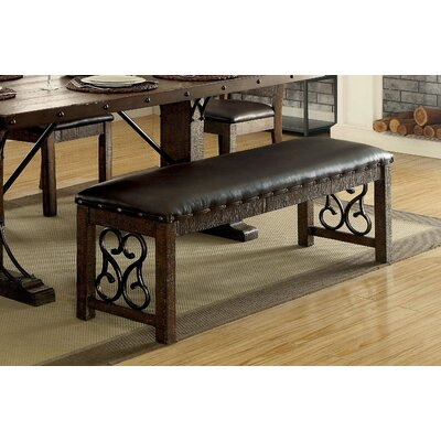 Barrview Traditional Wood and Faux Leather Bench