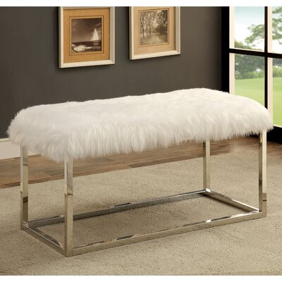 Agrippa Contemporary Metal/Metal Bench Upholstery: White, Frame Color: Chrome