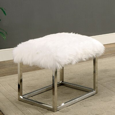 Agrippa Vanity Stool Upholstery: White, Finish: Chrome