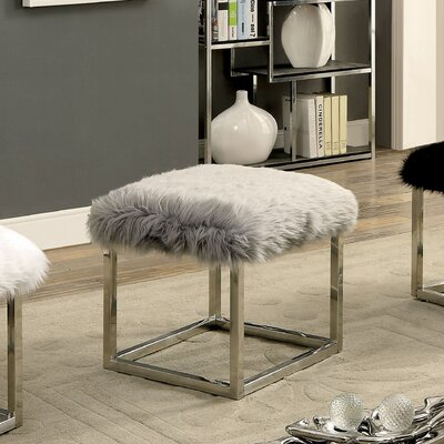 Agrippa Vanity Stool Upholstery: Gray, Finish: Chrome